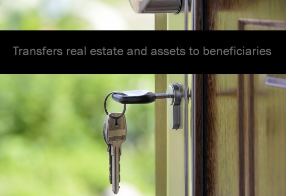 Transfers real estate and assets to beneficiaries