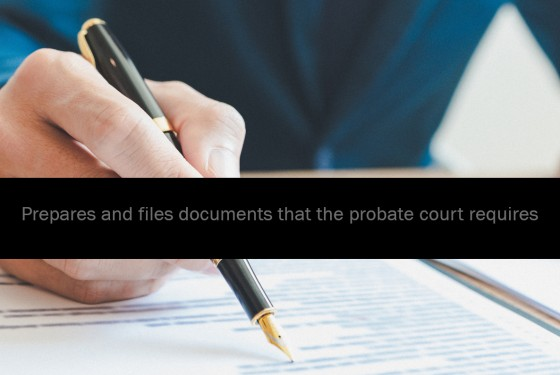 Prepares and files documents that the probate court requires