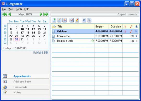C-Organizer Screenshot