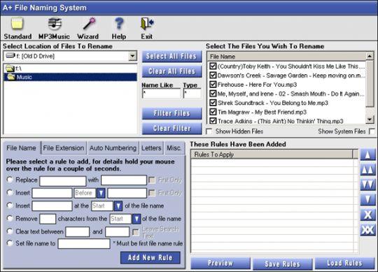 A+ File Naming System Screenshot