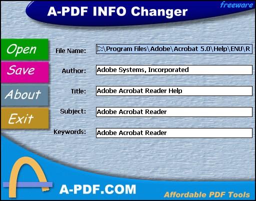 A-PDF INFO Changer Screenshot