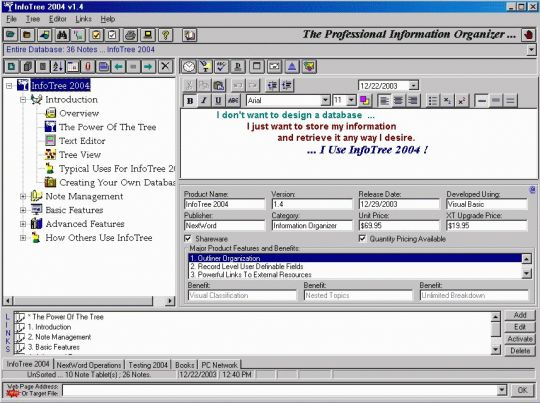 InfoTree 2004 Screenshot