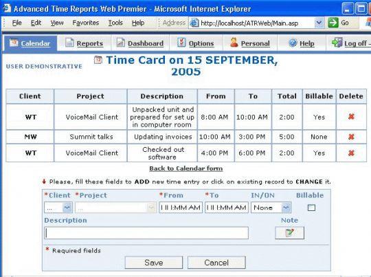 Advanced Time Reports Web Screenshot
