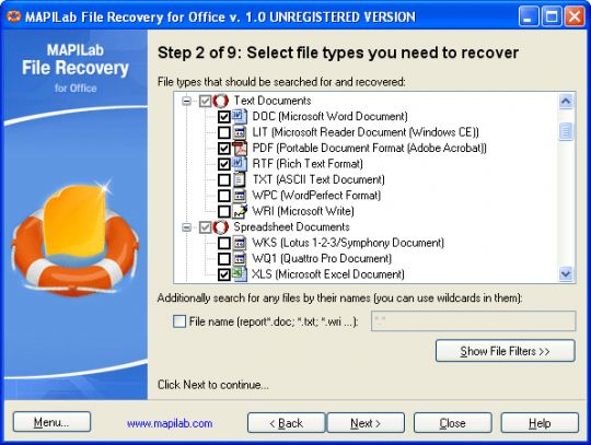 MAPILab File Recovery for Office Screenshot