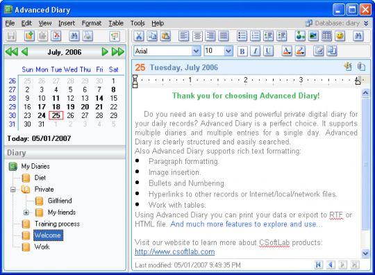 Advanced Diary Screenshot