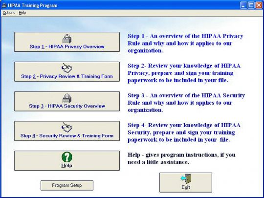 HIPAA Training Program Screenshot