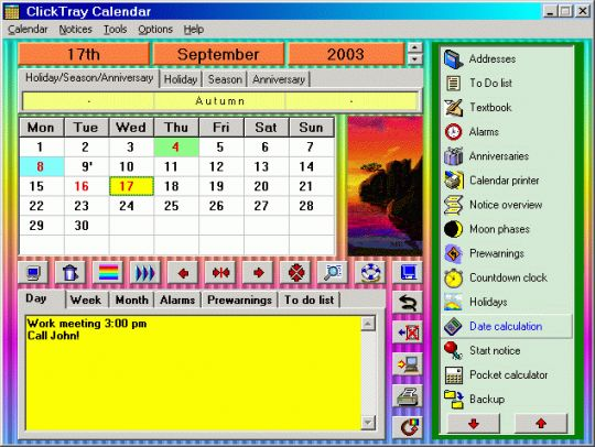 Click Tray Calendar Screenshot