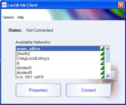 LucidLink Wireless Client Screenshot