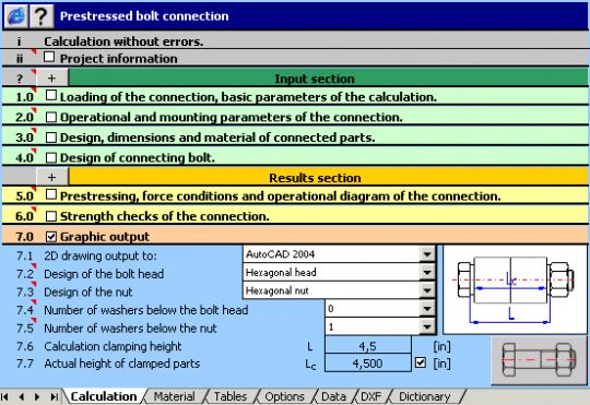 MITCalc: Bolted Connection Screenshot