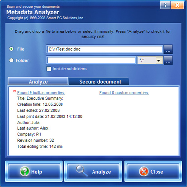 Metadata Analyzer Screenshot