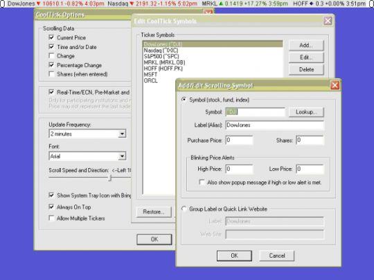 CoolTick Stock Ticker Screenshot