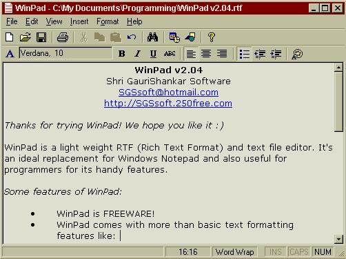 WinPad Screenshot