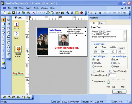 Newlite Business Card Printer Screenshot