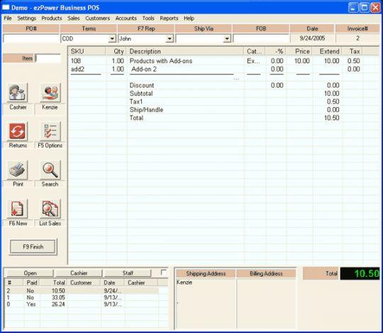 ezPower Business Point of Sale Screenshot