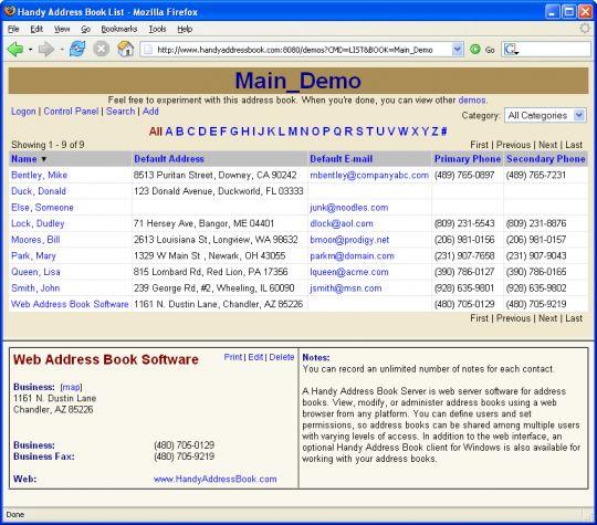 A Handy Address Book Server Screenshot