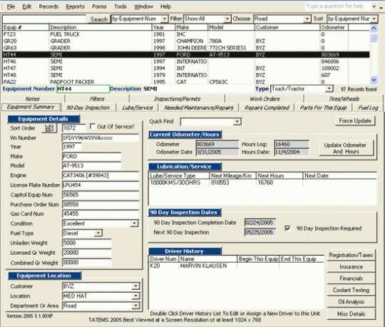 TATEMS Fleet Maintenance Screenshot