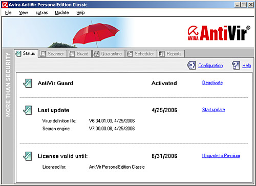 Avira AntiVir PersonalEdition Classic Screenshot