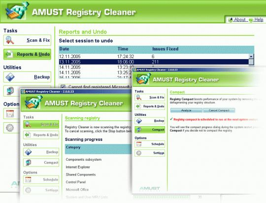 AMUST Registry Cleaner Screenshot
