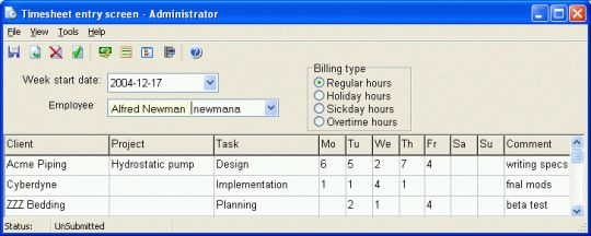 CyberMatrix Timesheets Client/Server Screenshot