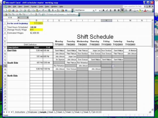 Employee Shift Scheduler for Excel Screenshot
