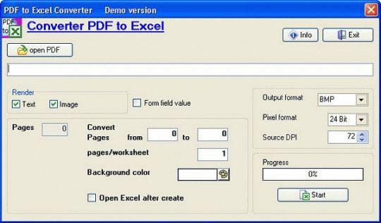 PDF to Excel Converter Screenshot