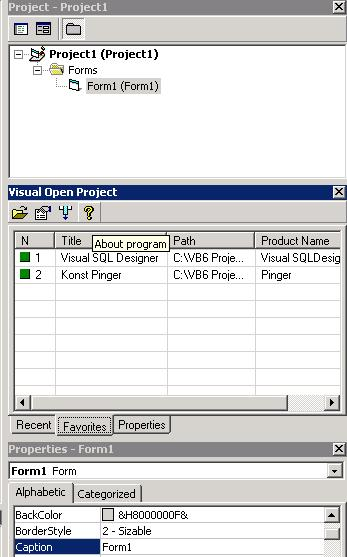 Visual Open Project Add-In Screenshots - Free Software Download
