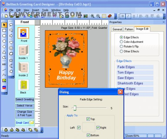 Belltech Greeting Card Designer Screenshot