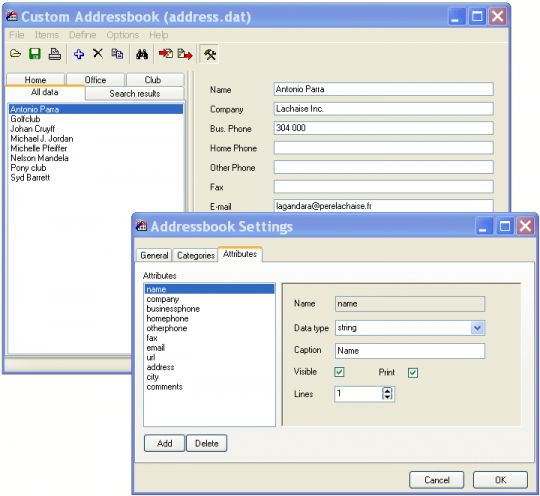 Custom Addressbook Screenshot