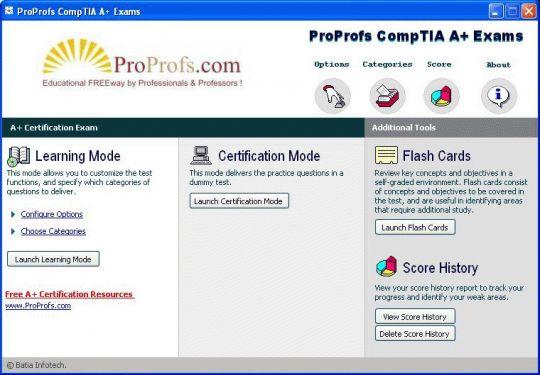 Free CompTIA A+ Practice Exams: ProProfs Screenshot