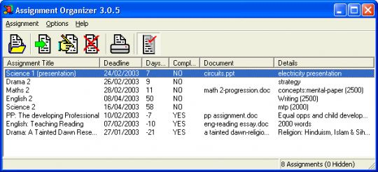Assignment Organizer Screenshot