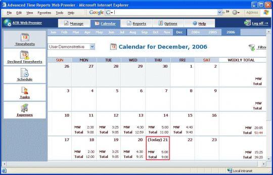Advanced Time Reports Web Premier Screenshot