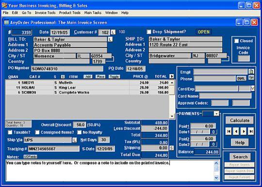 AnyOrder Pro II: Mail Order Business Kit Screenshot