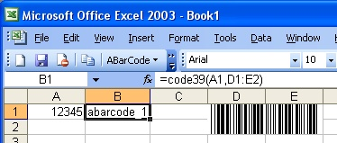 ABarCode for Excel Screenshot