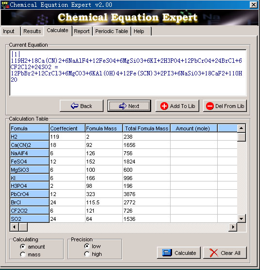 Chemical Equation Expert Screenshot