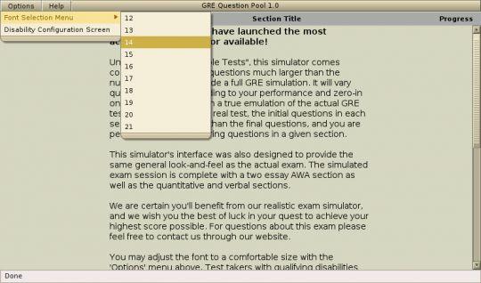 GRE Test Simulator Screenshot