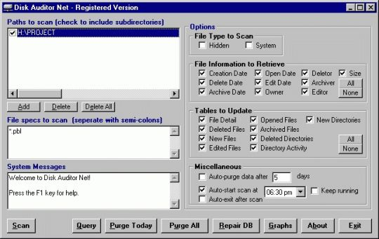 Disk Auditor Net Screenshot
