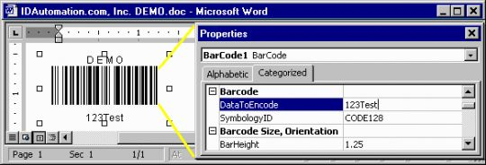 Barcode Add-in for Microsoft Office Screenshot