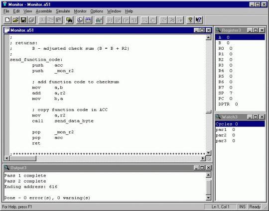 8051 Integrated Development Environment (IDE) Screenshot