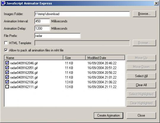 JavaScript Animator Express Screenshot