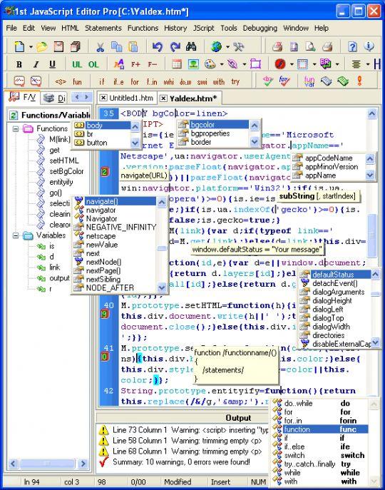 1st JavaScript Editor Pro Screenshot