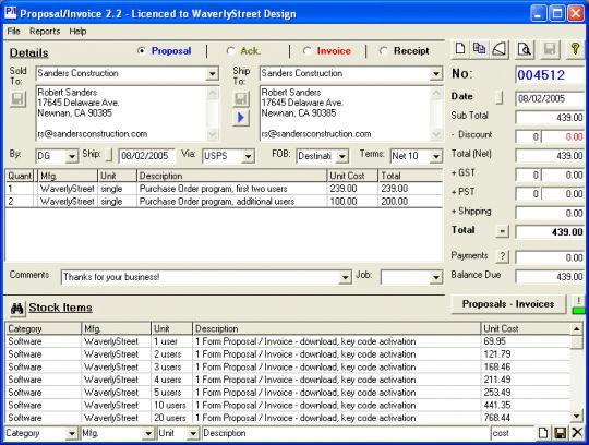 Proposal-Invoice Screenshot