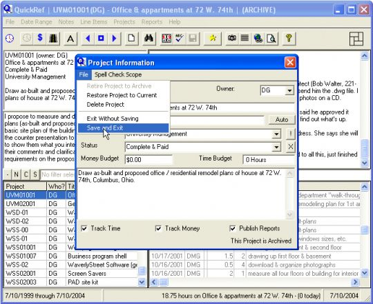 QuickRef Project Assistant Screenshot