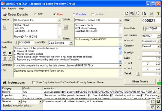 Work Order Screenshot