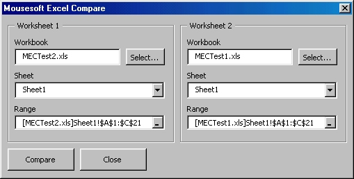 Mousesoft Excel Compare Screenshot