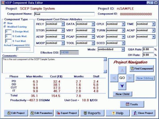 SW Cost Estimation Program Screenshot