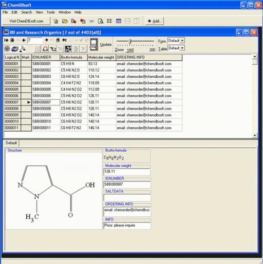 ChemDBsoft Academic Screenshot