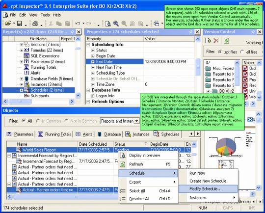 .rpt Inspector Enterprise Suite (for BO XIr2 / CR XIr2) Screenshot