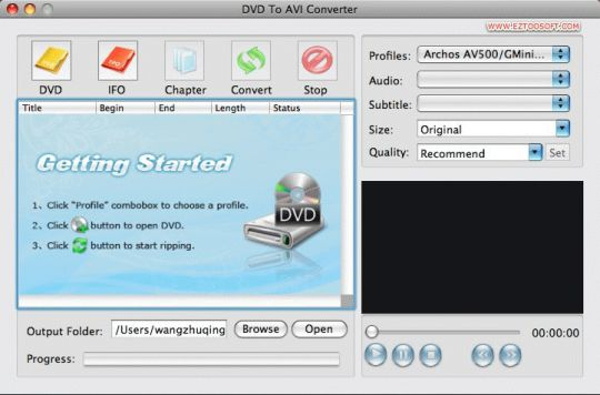 Eztoo DVD To AVI Converter for MAC Screenshot
