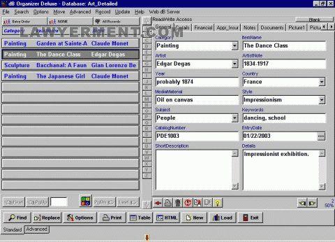 Art, Antiques Organizer Deluxe Screenshot