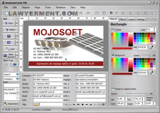 BusinessCards MX Screenshot